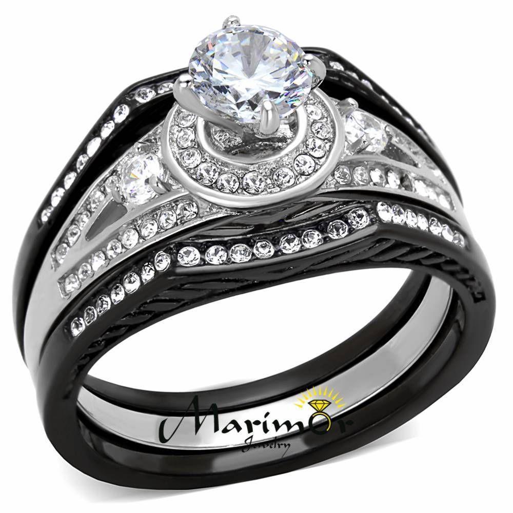 Stainless Steel 215Ct Halo Round Zirconia Black Wedding Ring Set Womens Sz 5 11
