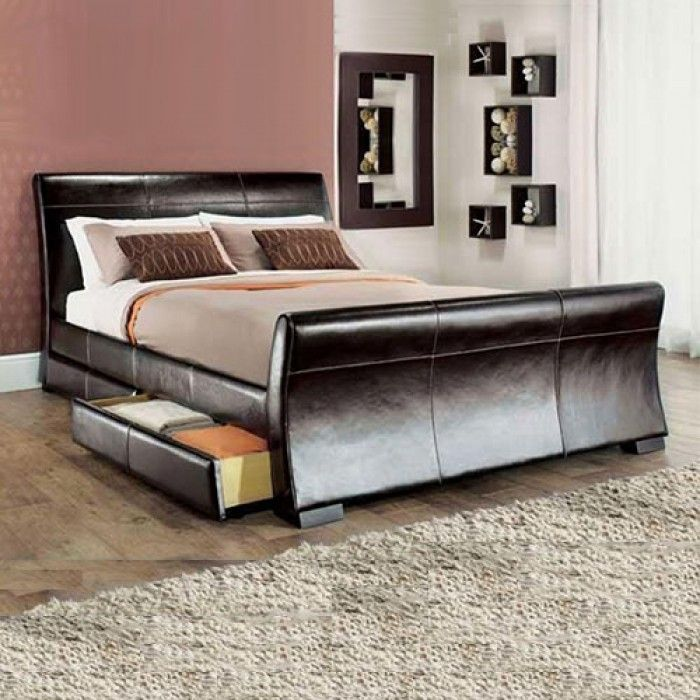 Leesa Storage 4 Drawer Sleigh Bed Leather Bed Leather Bed Frame Double Bed Designs