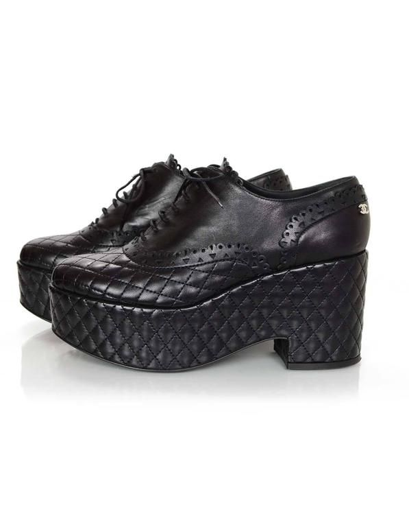Chanel Black Quilted Oxford Platform Shoes