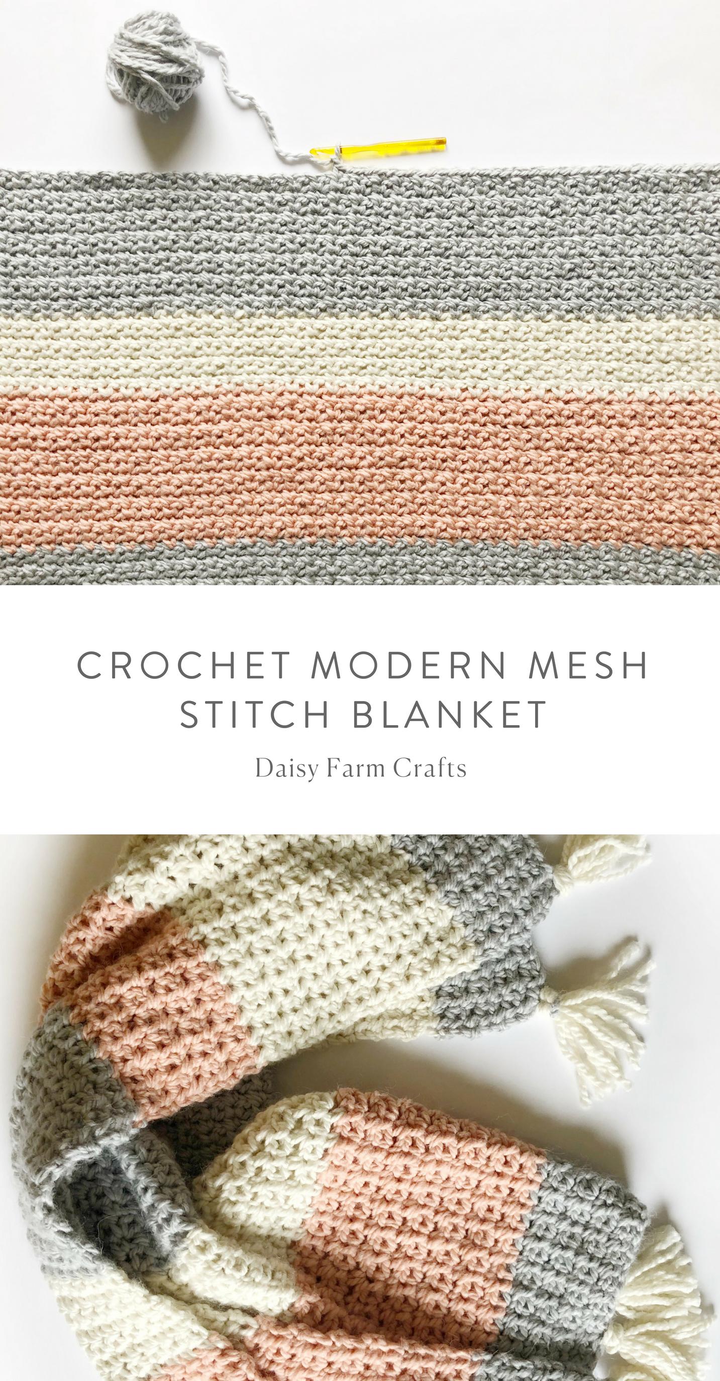 Free Pattern - Crochet Modern Mesh Stitch Blanket #crochet | Crochet ...
