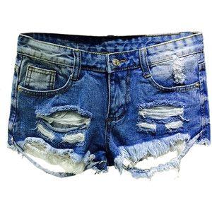 Choies Blue Ripped Five Pocket Laec Hem Denim Hot Shorts