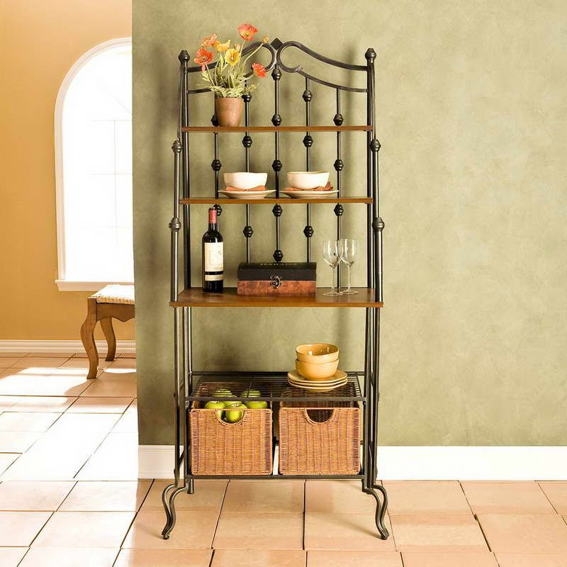 Bakers Rack With Basket Rattan Decorating Ideas. Storage ...