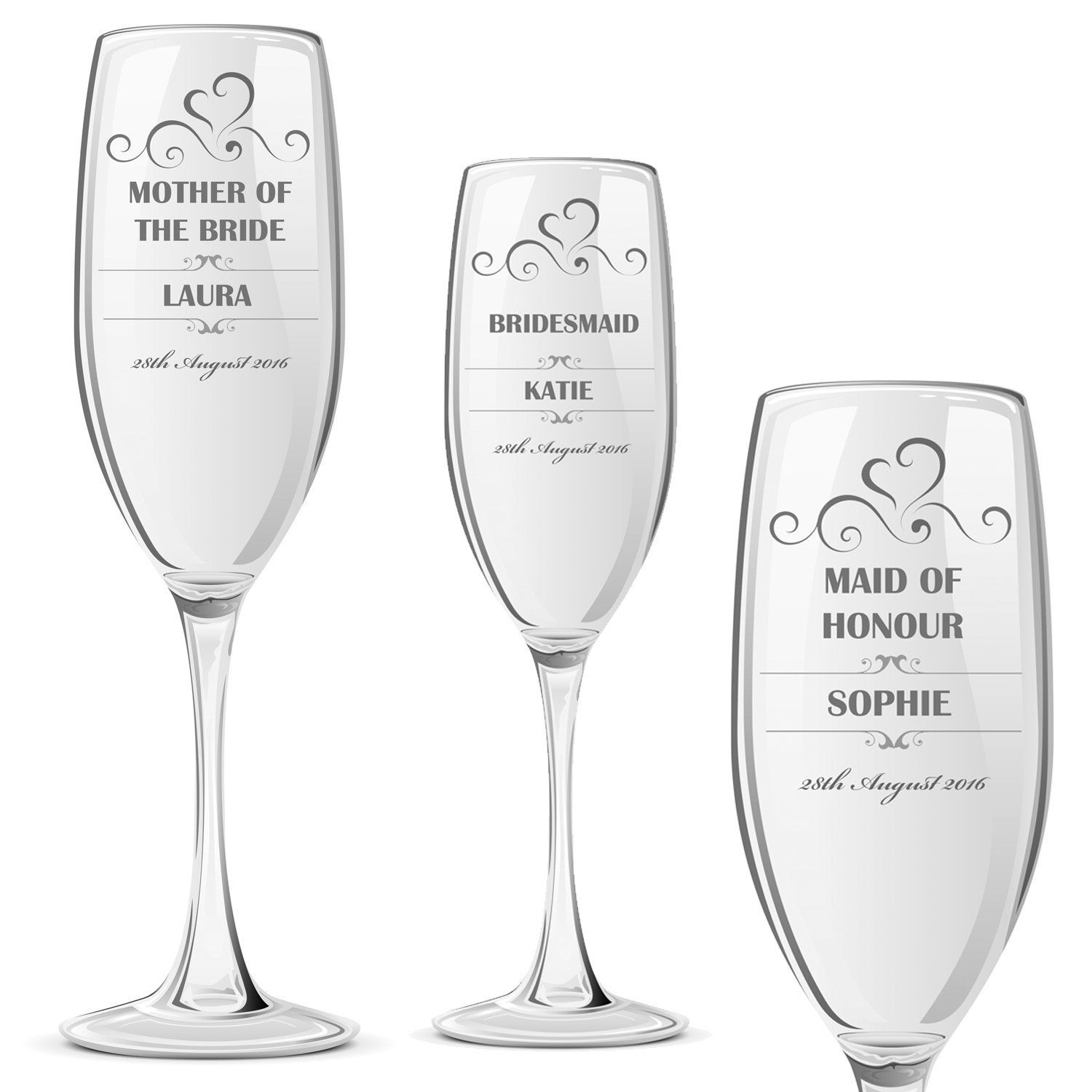 Personalised Champagne Prosecco Glass Wedding Favour Gift Bridesmaid ...