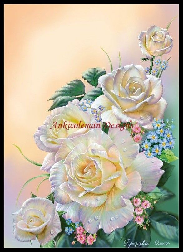 DIY Chart Counted Cross Stitch Patterns Needlework 14 ct Hybrid Tea Roses