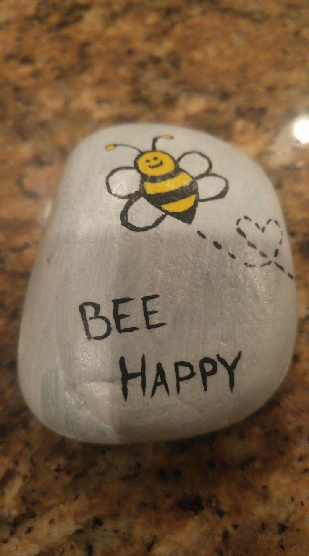Bee Happy - Steinmalerei