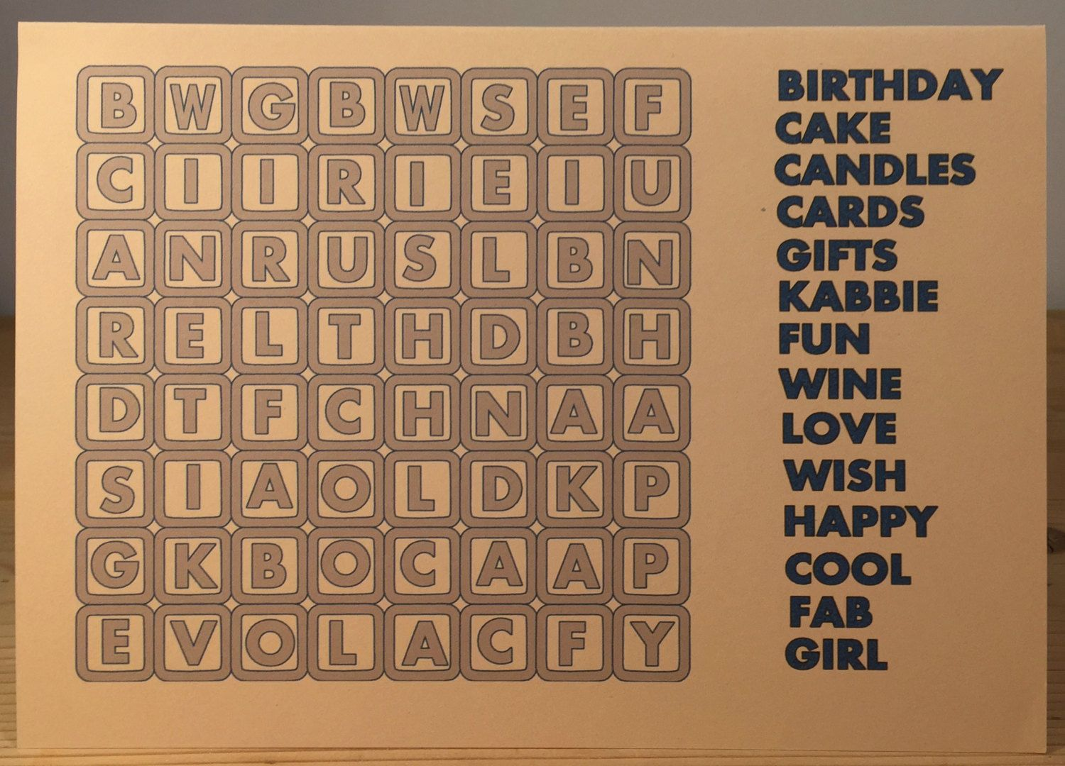 New To Weheartcards On Etsy Wordsearch Puzzle Personalised Custom Made Birthday Card FREE UK POSTAGE 995 GBP