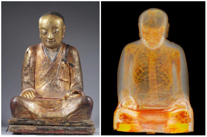 1000 year old sculpture hides mummy within!