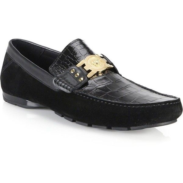 654a970a74c7 Versace Suede  amp  Croc-Embossed Leather Medusa Drivers   Versace Shoes  ( 790)