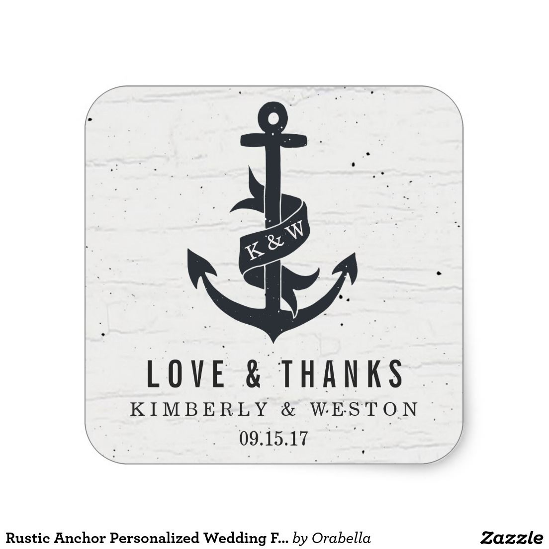 Rustic Anchor Personalized Wedding Favor Stickers | Wedding and ...