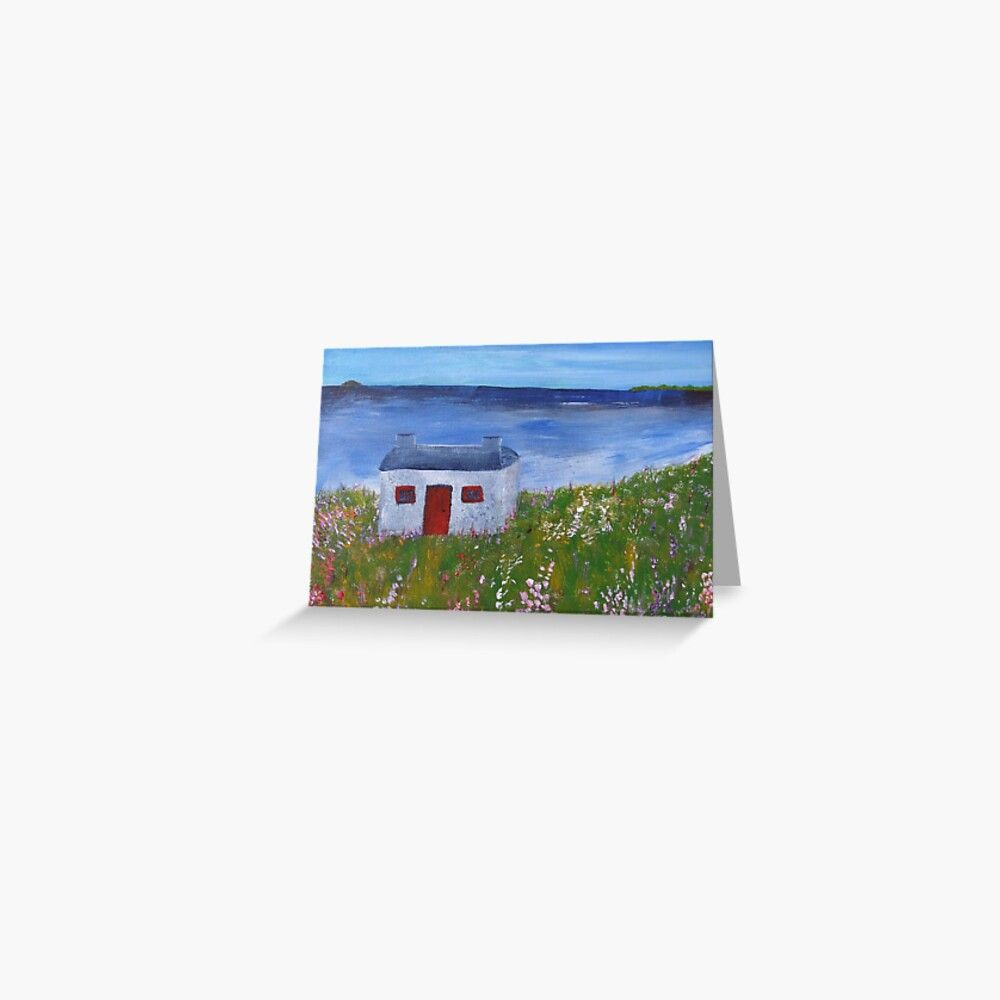 Cottage by the sea Greeting Card by Rockerbellas