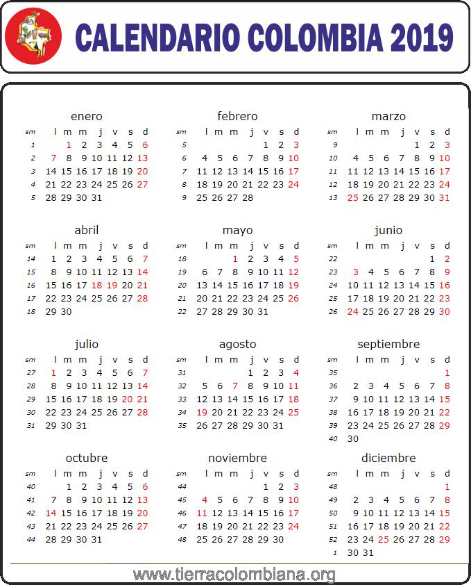 Calendario Colombia 2019 Para Imprimir.Calendario Colombia 2019 Arte Festivos En Colombia