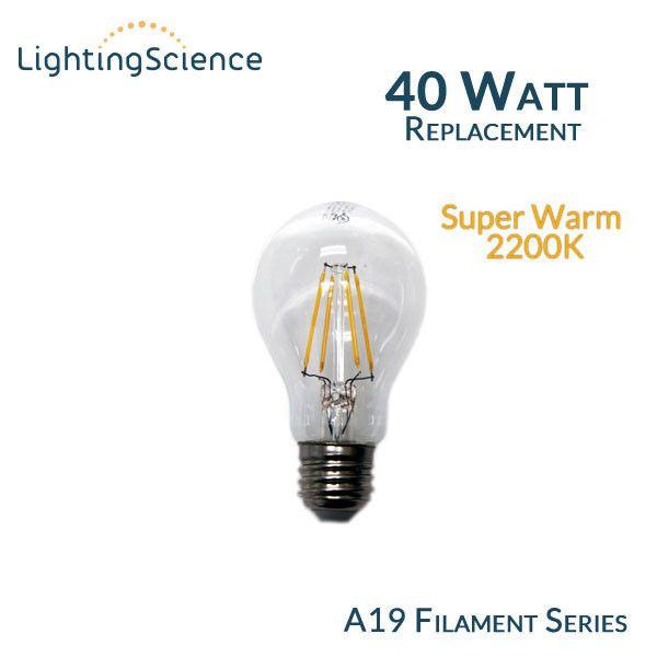 Lighting Science A19 Vintage Filament LED Bulb 40 Watt Equal 2200K   EarthLED.com LSPro  sc 1 st  Pinterest & Lighting Science A19 Vintage Filament LED Bulb 40 Watt Equal 2200K ... azcodes.com