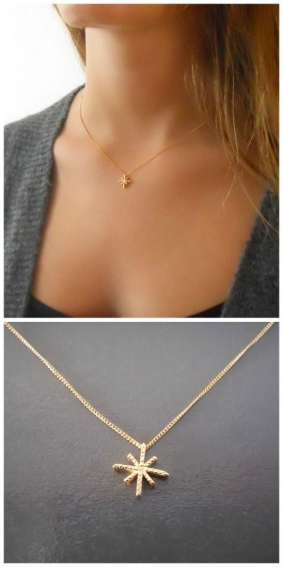 North star necklace dainty gold star necklace small north star delicate gold north star pendant necklace mozeypictures Choice Image
