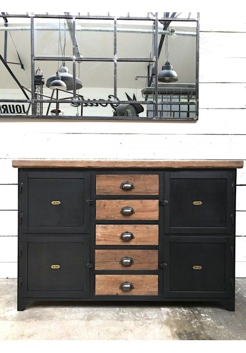 Exemple fabrication meuble métallique avec tiroirs bois Industrial