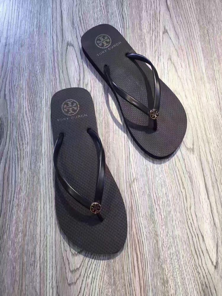 73f29b38b7161 Tory Burch Thin Enamel Printed Flip Flops Sandal Thong Reva Flat sz 8 Black  NEW