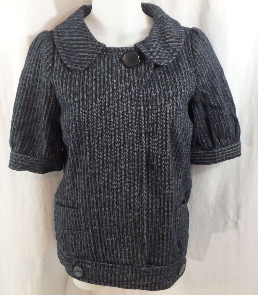 Women's Lux Gray & Black Jacket NWT Size Medium M Urban Outfitters Short Sleeve #Lux #BasicJacket