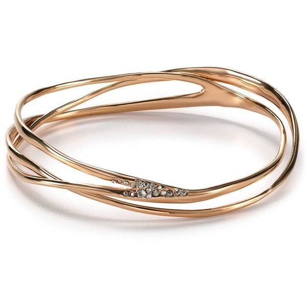 Alexis Bittar Liquid Rose Gold Pave Wave Bangle 145 Liked On Polyvore