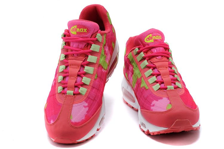 reputable site 1fdce 7dba4 Nike Air Max 95 Premium Tape Femme Chaussures Rose Rouge Vert Blanc