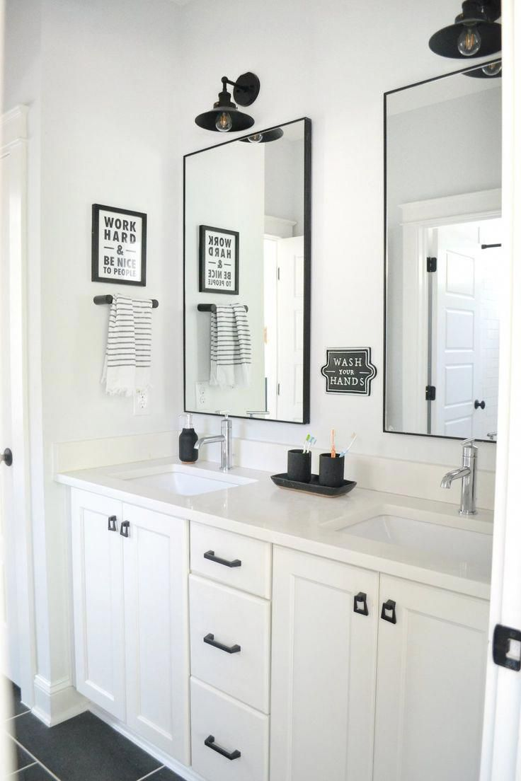 A Black and White Shared Bathroom- Full Tour of this ...