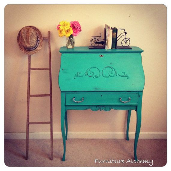 Turquoise Antique Secretary Desk-shabby chic furniture, chalk painted  furniture, distressed on Etsy