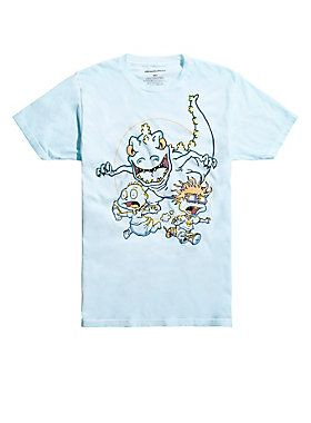 59e9f4c42 Tommy & Chuckie are running for dear life from Reptar on this light blue T- shirt from Nickelodeon's classic animated television series, <i>Rugrats.