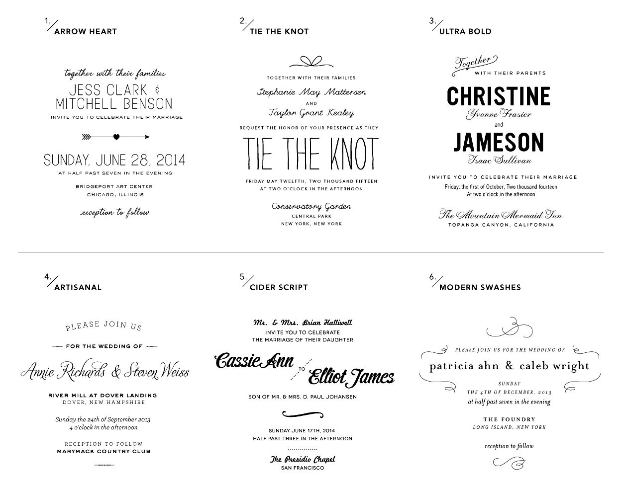 Whimsical Wedding Invitation Wording View all 6 type styles ...