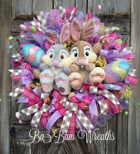 easter wreath spring wreath thumper wreath bunny by babamwreaths - Easter Wreaths