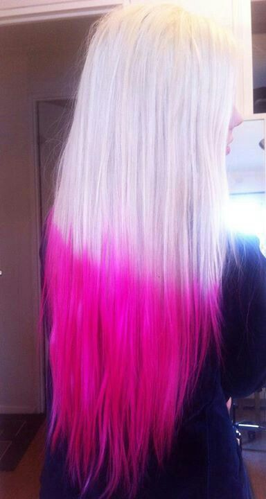 Bleach Blonde Hot Pink Ends Hair Styles Prom Hair Short Hair Styles