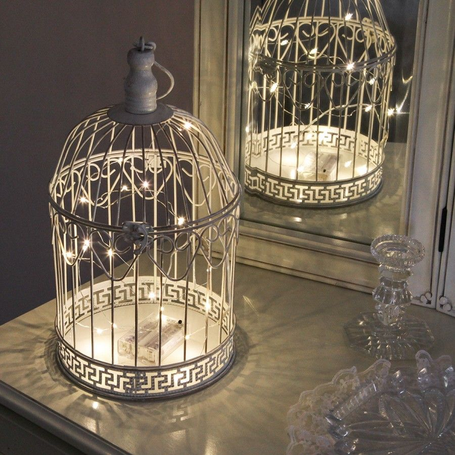 Shabby chic bird cage with warm white wire light 36cm shabby chic pinter - Decoration cage oiseau ...