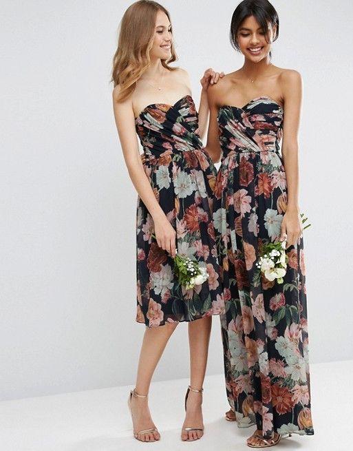 427309f818e8 DESIGN chiffon bandeau large floral maxi dress | Wedding shit ...