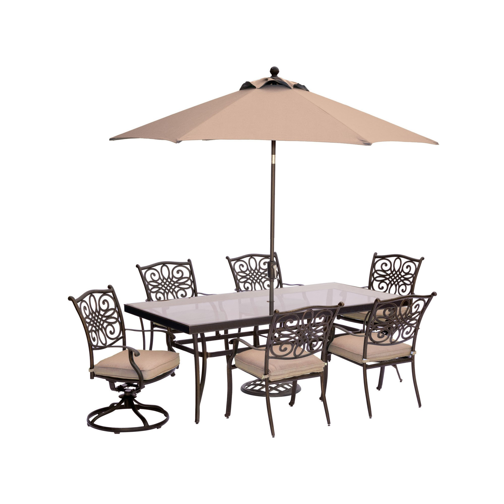 Traditions 7pc Dining Set With Extra Large Glass Top