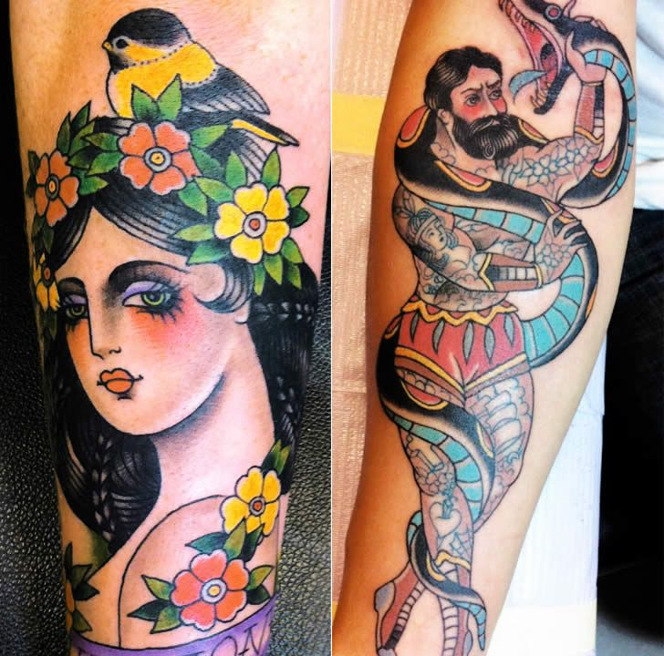 Colorful woman / gypsy girl and man with snake tattoos by Marie Sena