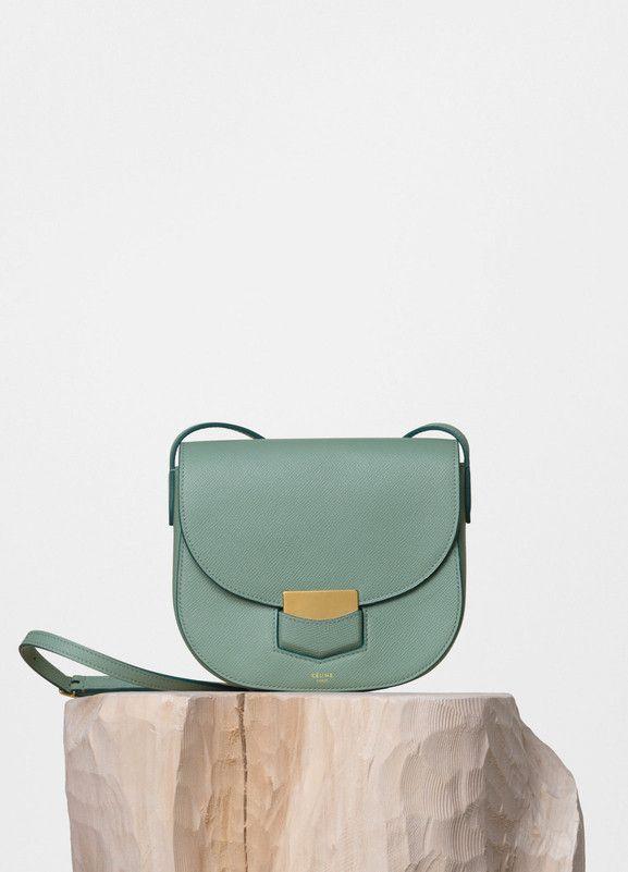 Small Trotteur Shoulder Bag in Jade Grained Calfskin - Céline