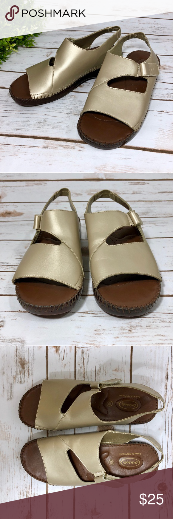 1fa959ce3d4e Dr. Scholl s Gold Leather Nina Orthopedic Sandals Dr Scholls gold tan  colored leather sandals in the Nina style. Size women s 8.5.
