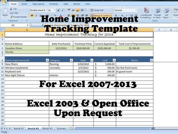 Home Improvement Tracking Template in Excel Spreadsheet   - property expenses spreadsheet