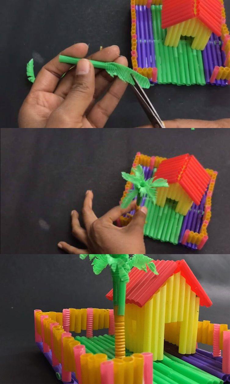 Membuat Rumah Rumahan Dari Sedotan Dengan Gambar Kreatif
