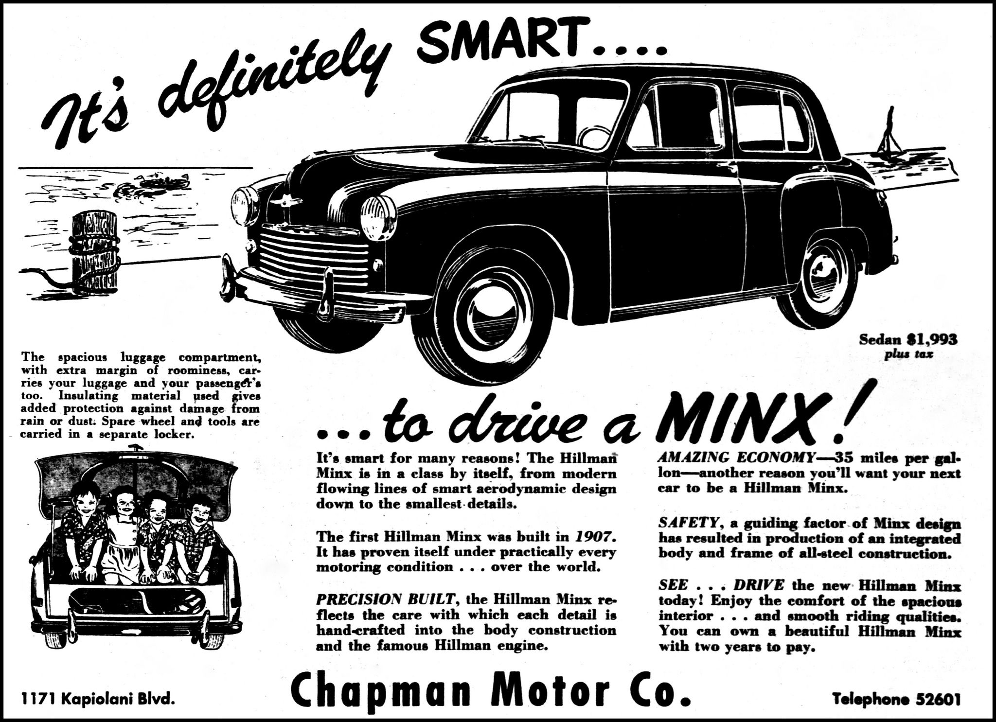 vintage advertising for the 1949 hillman minx automobile