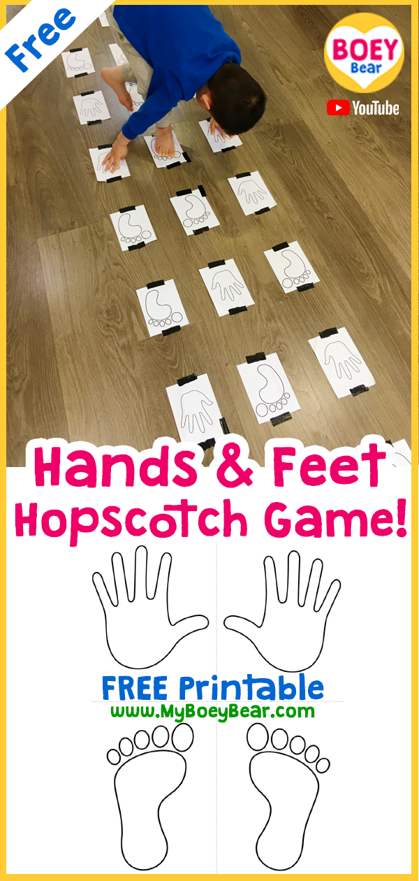 Photo of Hands and Feet Hopscotch Game Free Printable