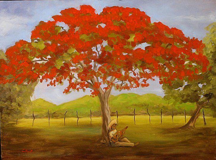 Bajo Su Flamboyan Puerto Rico In 2019 Puerto Rico Tree Art Art