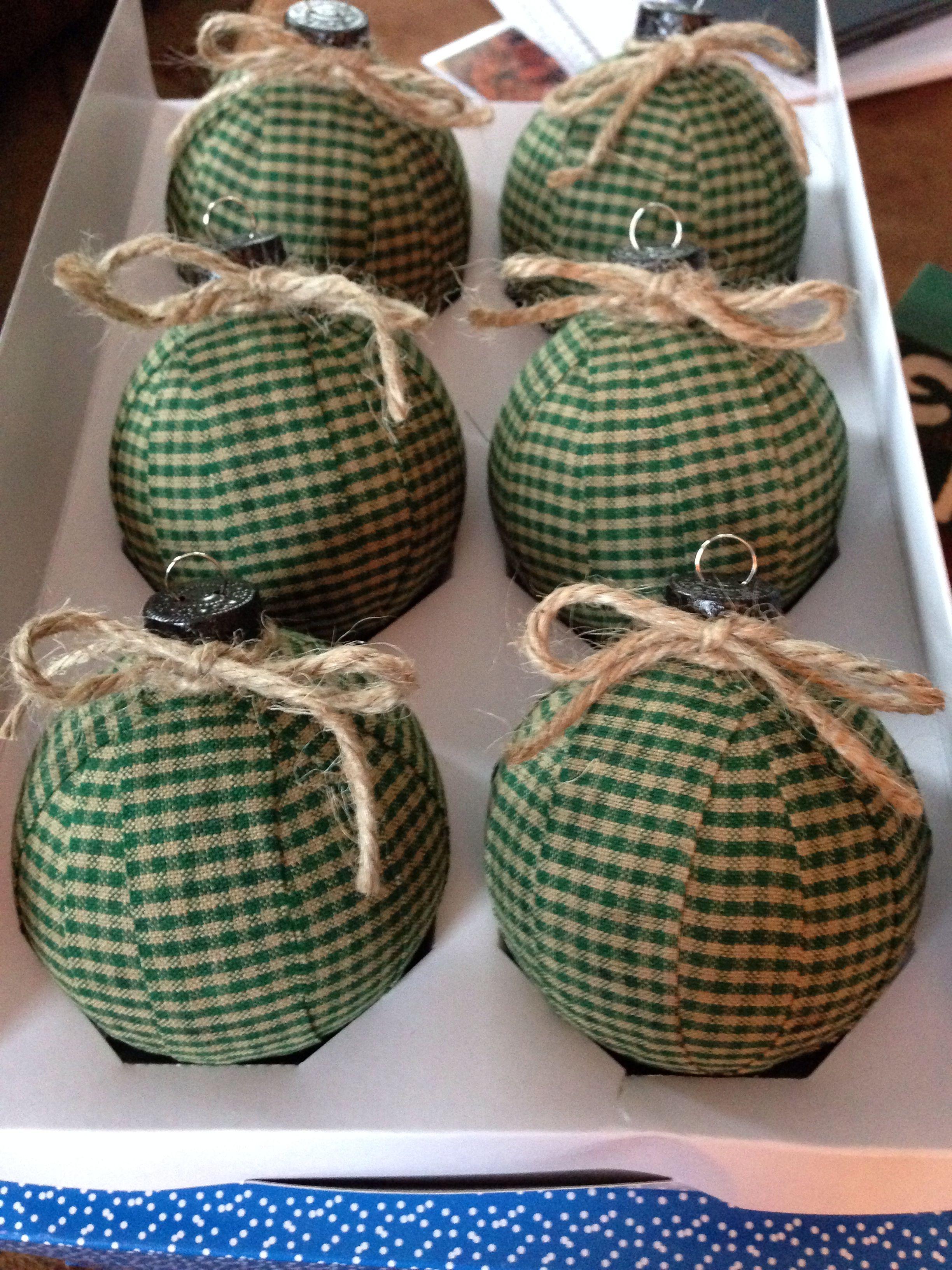 Fabric Christmas Ornaments I Made With Glass Balls And Homespun