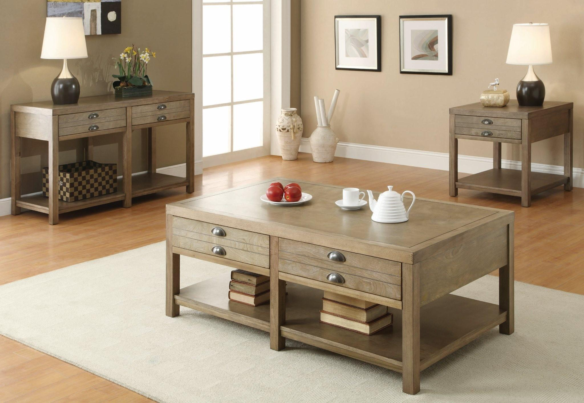 Coaster Occasional Group Cottage Sofa End And Coffee Tables Driftwood Finish Coffee Table Home Coffee Tables Coffee Table With Drawers [ 1415 x 2048 Pixel ]
