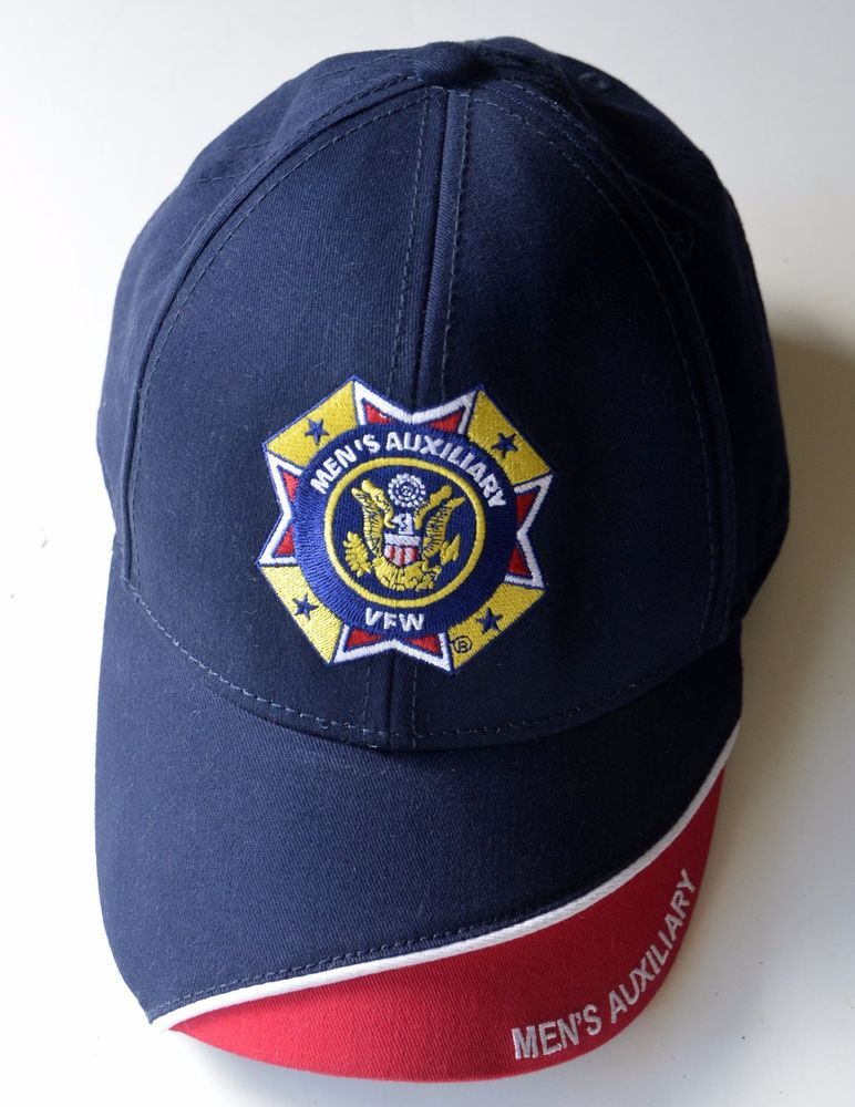 fc60ed94a8ce1 VFW Black Adjustable Back Ball Cap Hat Men s Auxiliary Veterans of Foreign  Wars