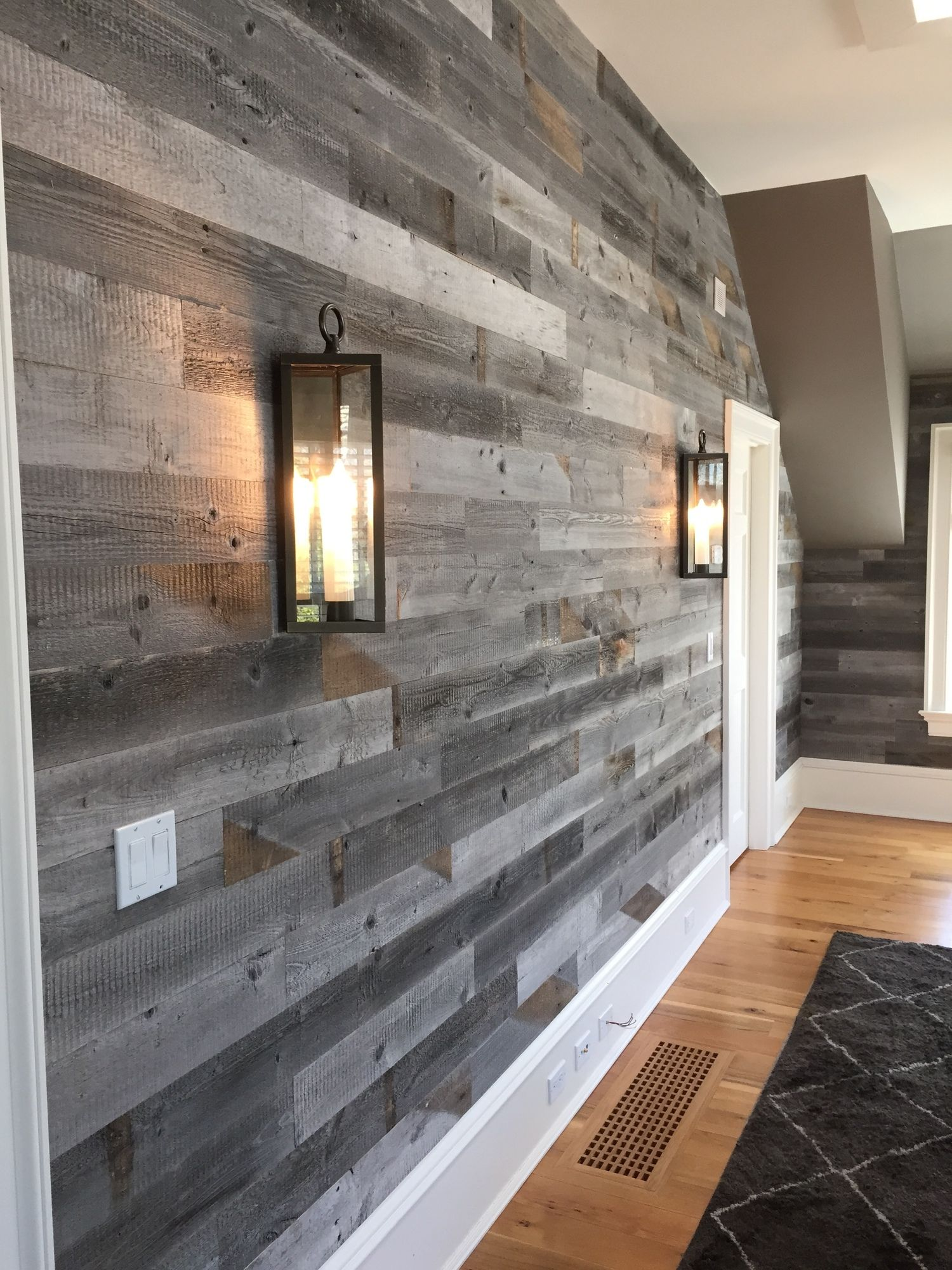Reclaimed weathered wood wood walls compliments and woods for Wood wallpaper for walls