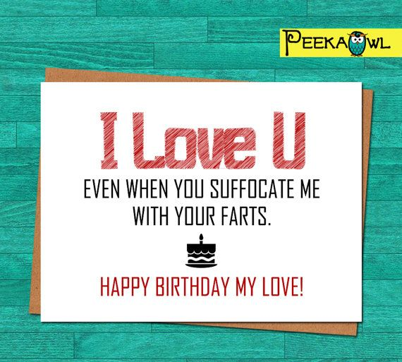 Instant Download Funny Birthday Card Boyfriend By PeekaOwl Cards For Husband