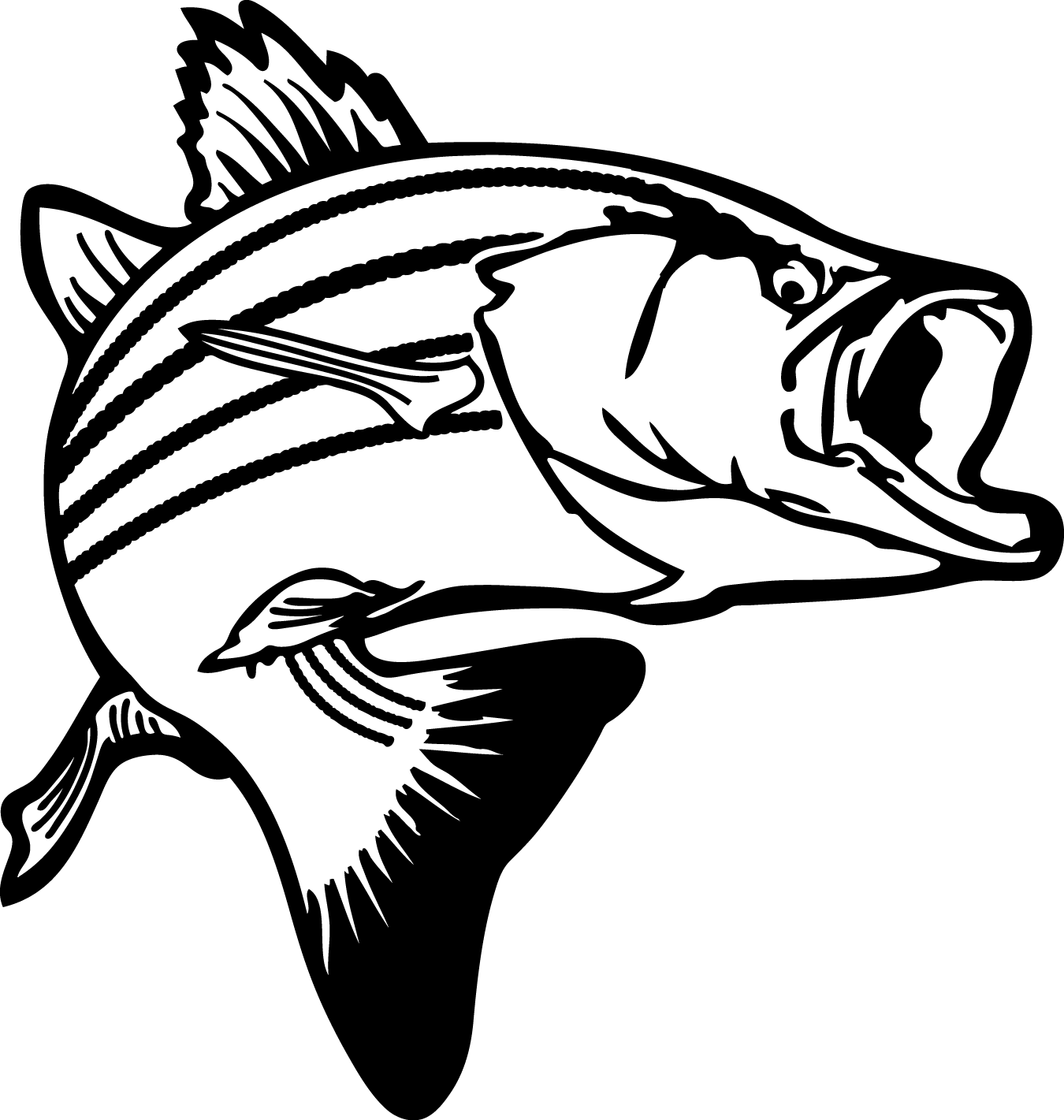 jumping bass fish clip art clipart panda free clipart images [ 1350 x 1421 Pixel ]
