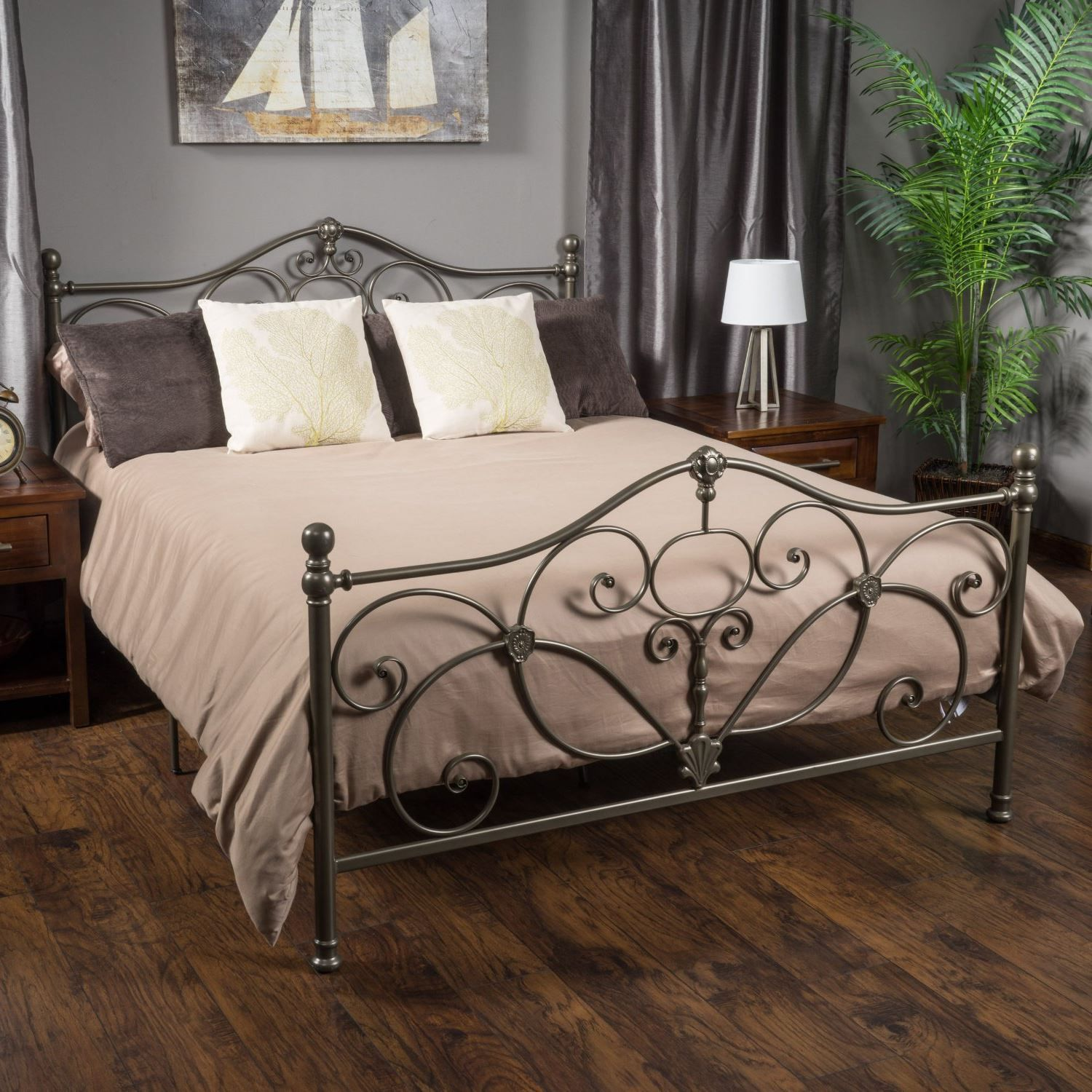 Kelford Champagne Iron Metal Bed Frame King Size King Size Metal