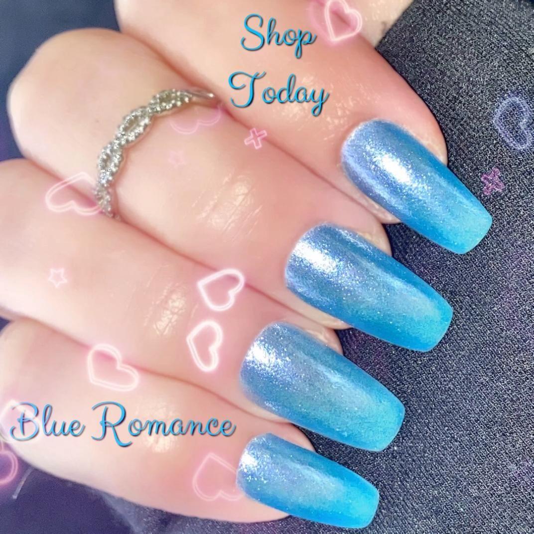 Blue Shimmer Nail Polish Nail Lacquer 10 Free Polish : Blue | Etsy
