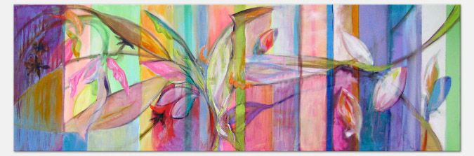"Abstract  ""Floral Stripes I"" Acrylic on Canvas 16x50""  abol@abolart.com"