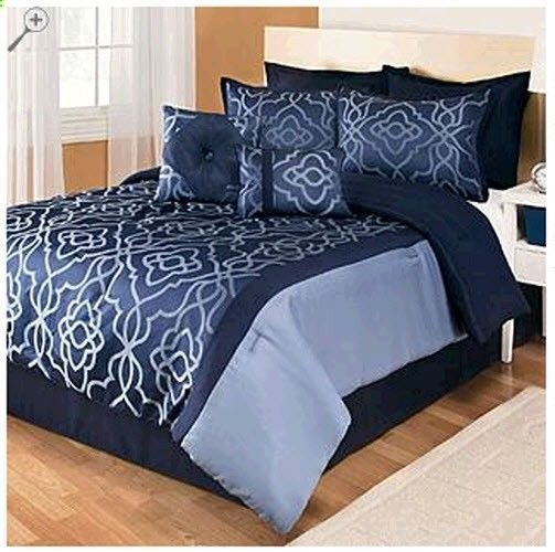 8 Piece Blue Black Comforter Set Bed Full Queen King Size Bedspreads Bedding Comforter Sets Black Comforter Sets Blue Bedding Sets