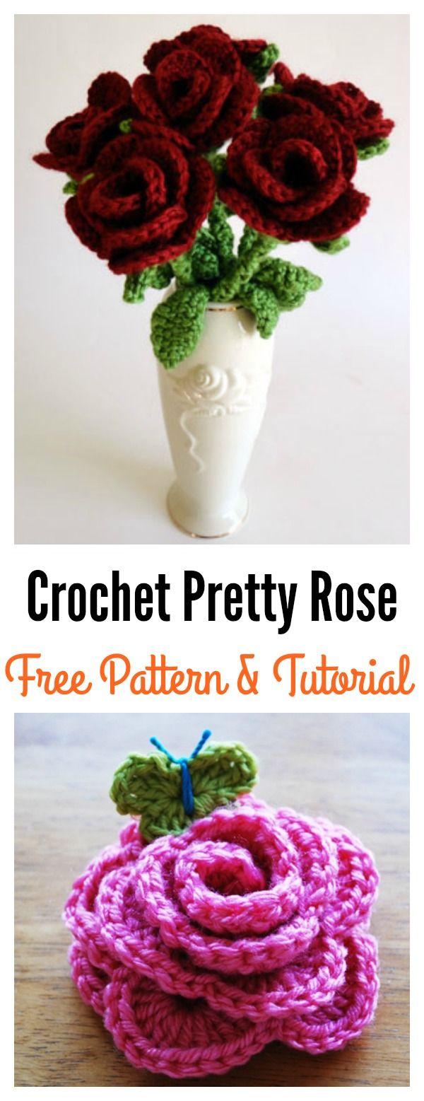 Valentine\'s Day Crochet Flowers Free Patterns | Croché, Tutoriales y ...